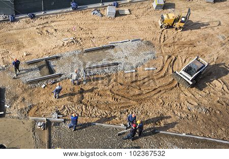 construction and earthworks top view