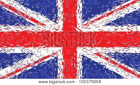 Flag of United Kingdom, Great Britain, British Flag with water drops