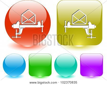 open mail with clamp. Vector interface element.