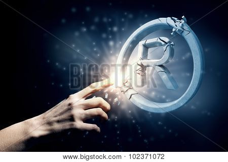 Close up of human hand touching broken copywriting sign