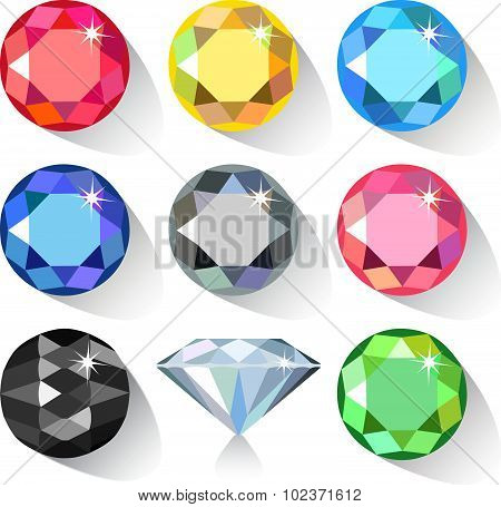 Long shadow flat style set of colored gems