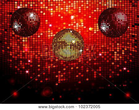 Disco Balls Over Red Sparkling Tiles Wall Background