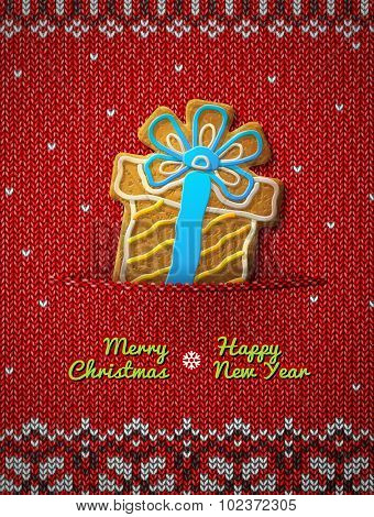 Gift Box Cookie On Knitted Background