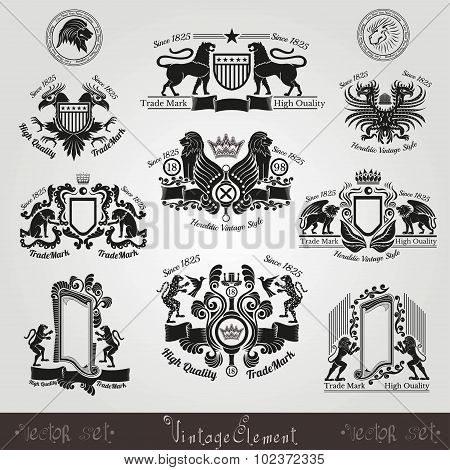 set vintage silhouette heraldic labels with pattern and animals, eagle lion tiger panter leopard bir