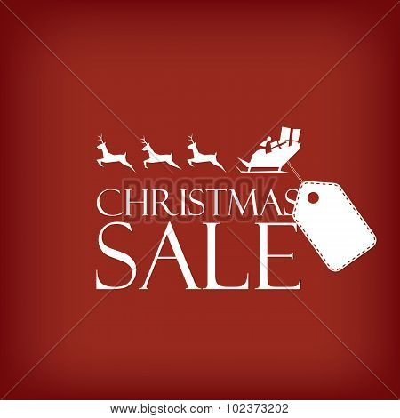 Christmas sale poster. Holiday sales vector template. Santa Claus riding sleigh with reindeer. Price