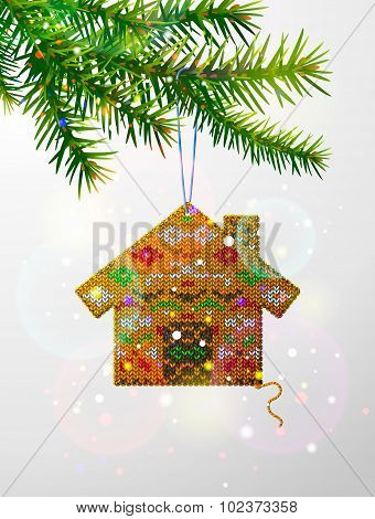 Christmas Tree Branch With Decorative Knitted House