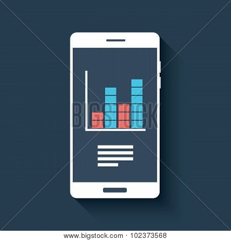 Mobile chart infographics element. Smartphone with graphs. Business report diagram.