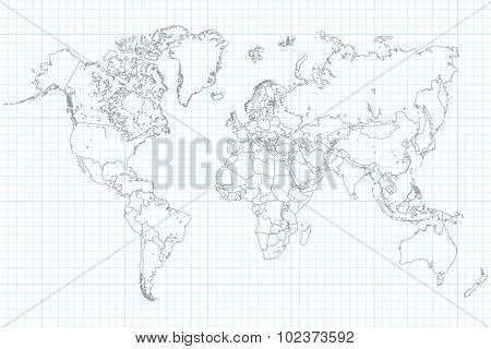World Map Illusration on a school graph paper