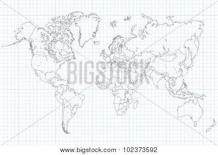 World Map Illusration on a school graph paper