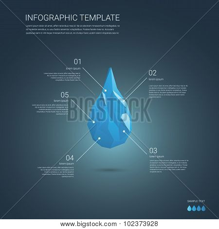 Infographics vector template. Low poly water drop symbol of pure and clean. Infographic elements wit