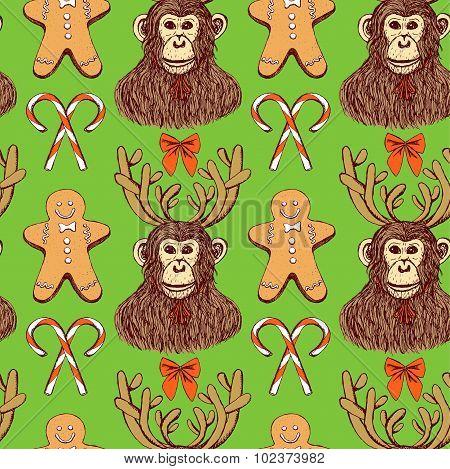 Sketch Monkey With Reindeer Antlers