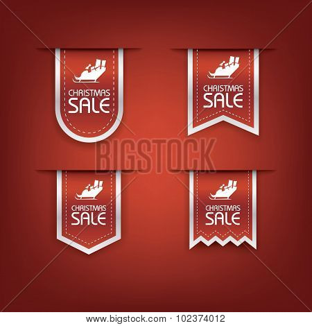 Collection of Christmas sale ribbon vector. Holiday discounts banners with santa on sleigh. 3d bookm