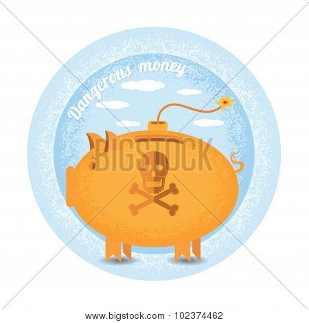 dangerous money.Three piggy bank stand like a bomb.Vintage retro style shadow income icon on blue ni