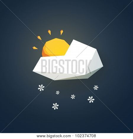 Low poly weather icon. Forecast symbol in modern 3d design. Snowing and partially sunny winter sign.