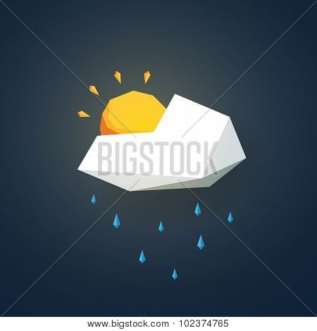 Low poly weather icon. Forecast symbol in modern 3d design. Rain or showers and partially sunny sign