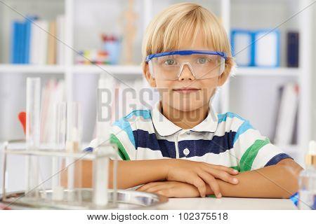 Diligent schoolboy