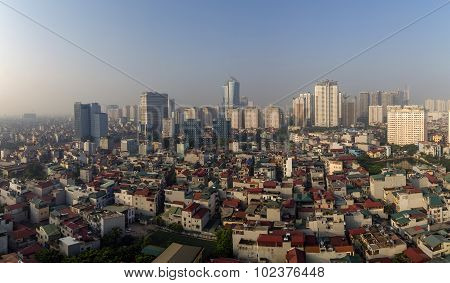Aerial view of Hanoi skyline cityscape at morning