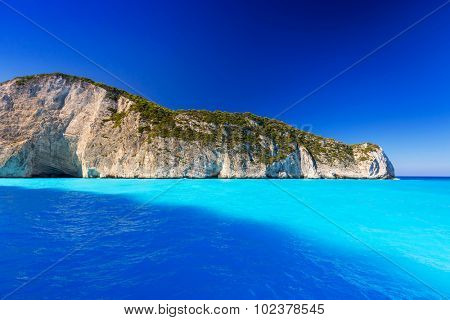 Blue lagoon of Navagio Beach on Zakynthos island, Greece