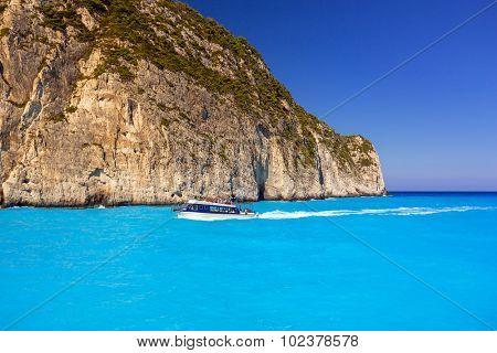 Blue lagoon of Navagio Beach on Zakynthos island, Greece
