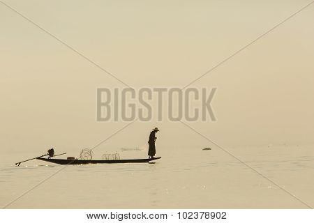 Fishermen In Inle Lakes Sunset, Myanmar.