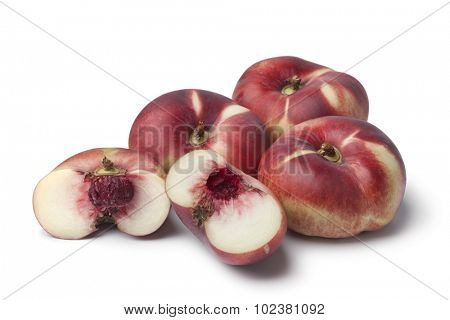 Fresh ripe wild nectarines on white background