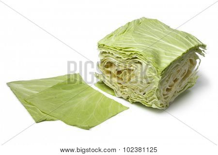 Square coolwrap cabbage leaves  on white background