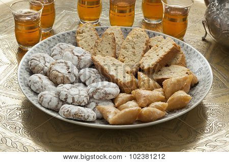 Traditional Moroccan homemade cookies with tea