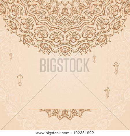 Brown Ethnic Background with Henna Round Patterns