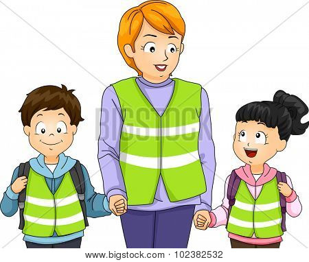 Illustration of a Teacher Taking Her Students on a Walking Bus Walk