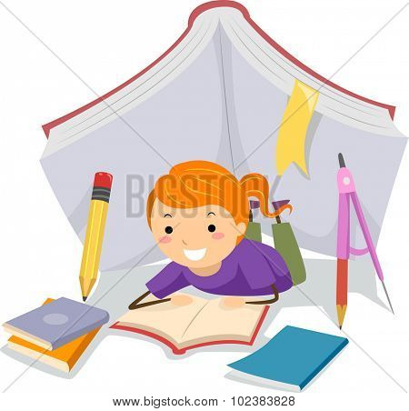 Stickman Illustration of a Little Girl Studying Under a Tent Made from School Supplies