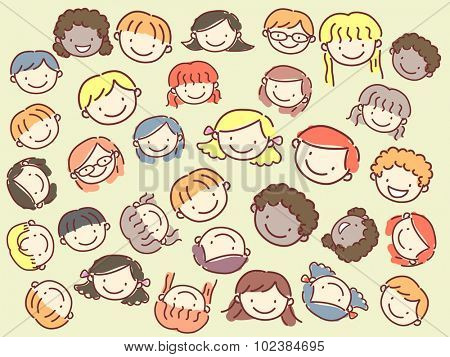 Stickman Illustration of Kids from a Diverse Background