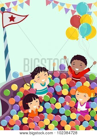 Stickman Illustration of Kids Playing Happily in a Ball Pit