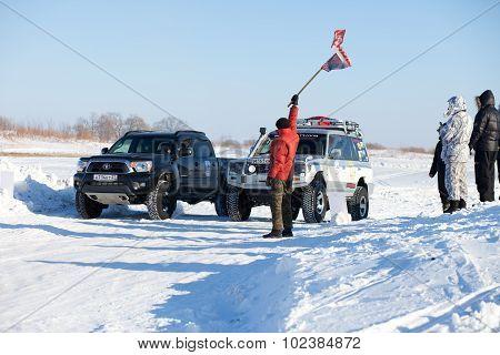 Khabarovsk, Russia - January 31, 2015: Start Of Off Road Winter Sprint Race