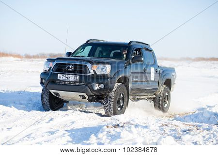 Khabarovsk, Russia - January 31, 2015: Toyota Tacoma During Off Road Winter Sprint Race