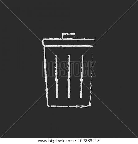 Trash can hand drawn in chalk on a blackboard vector white icon isolated on a black background.