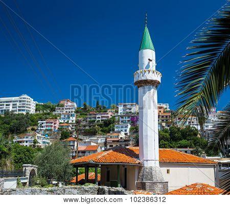 Minaret Of The Mosque In Ulcinj Downtown