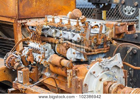 Old Rusty 6 Cylinder Diesel Engine