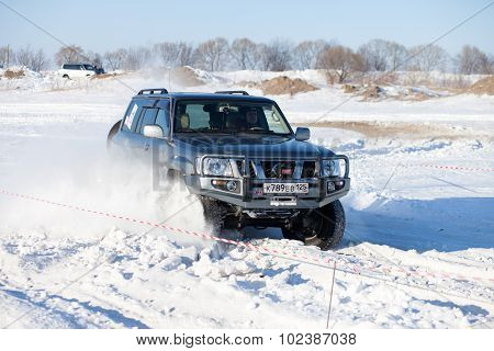 Khabarovsk, Russia - January 31, 2015: Nissan Patrol During Off Road Winter Sprint Race