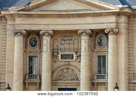 PARIS, FRANCE - SEPTEMBER 8, 2014: Paris University- Faculty of Law near the Pantheon. Paris. France