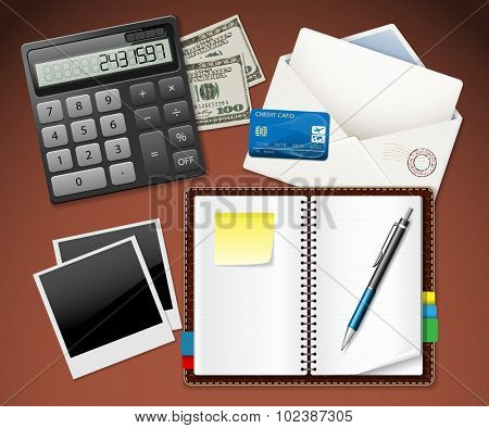 Workplace office and Business work elements set. Envelope, Money, Photos, Credit Card, Calculator, Notebook, Pen. Illustration vector EPS10