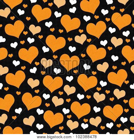 Orange, White And Black Hearts Tile Pattern Repeat Background