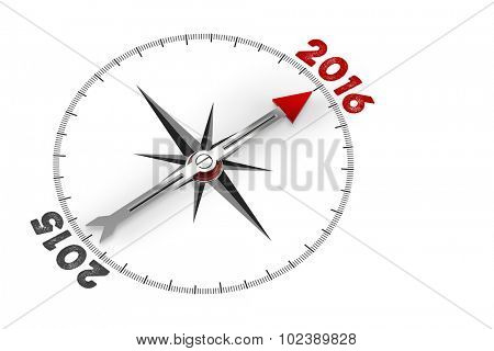 Red arrow of a compass pointing to year 2016 (3D Rendering)