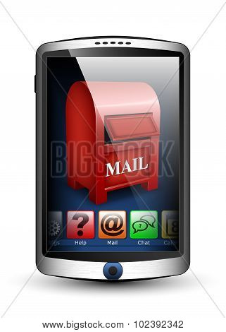 Smartphone With Menu And Email Icon On The Big Touch Screen. Vector Illustration