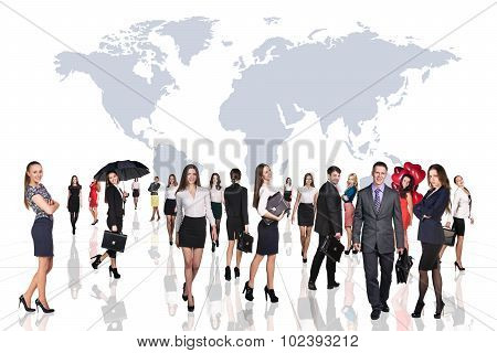 Business people stand on the big map background.
