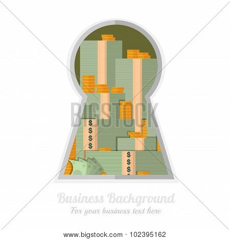 bundle of money bank note and coin through the keyhole
