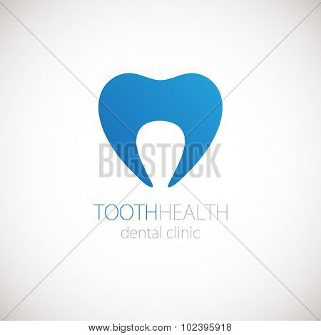 Dental clinic vector logo with blue tooth on white background. Tooth icon for logotype.
