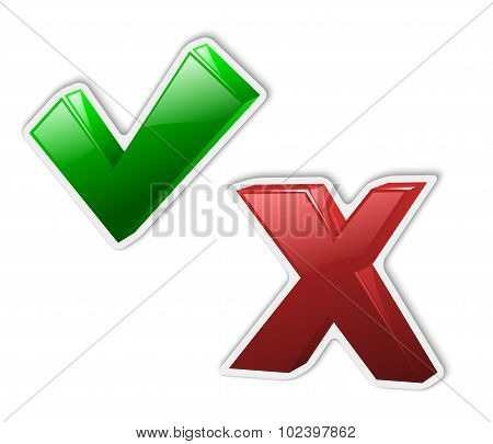 Check Mark Stickers Yes And No. Vector Illustration