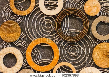 Abstract Of Colorful Wood Filigree Strips Folded In Waves