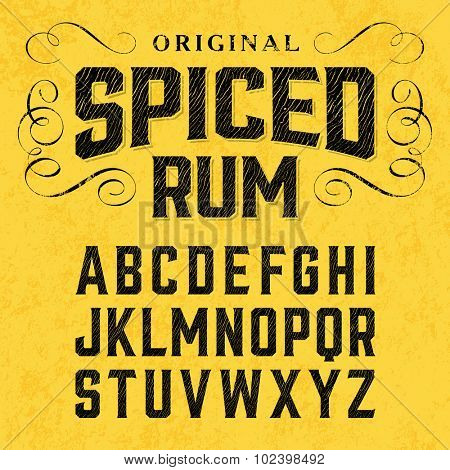Vintage spiced rum label font with sample design. Ideal for any design in vintage style. Vector.