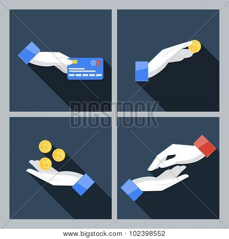 Set of four icons with hands holding the coins